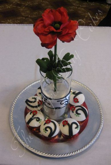 Red And Black Cupcake Centerpiece