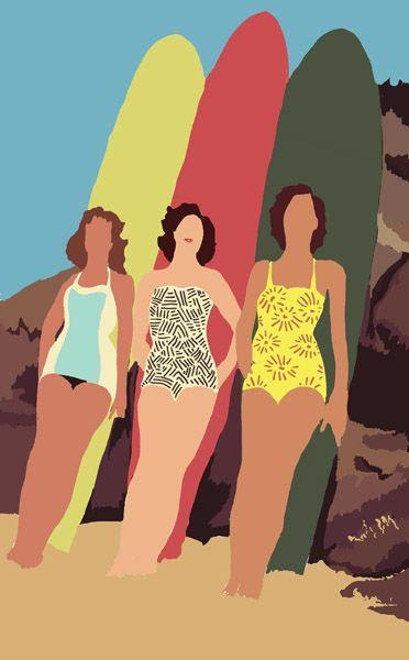 www.helenedruvert.net surfing girls in Biarritz