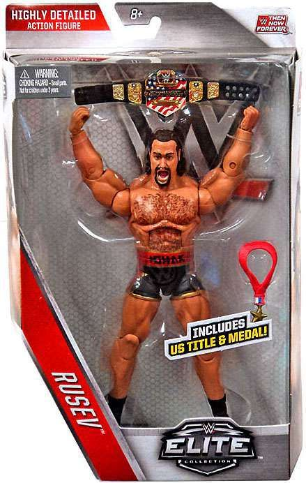 WWE Wrestling Elite Collection Then Now Forever Rusev Exclusive Action Figure [US Title & Medal]