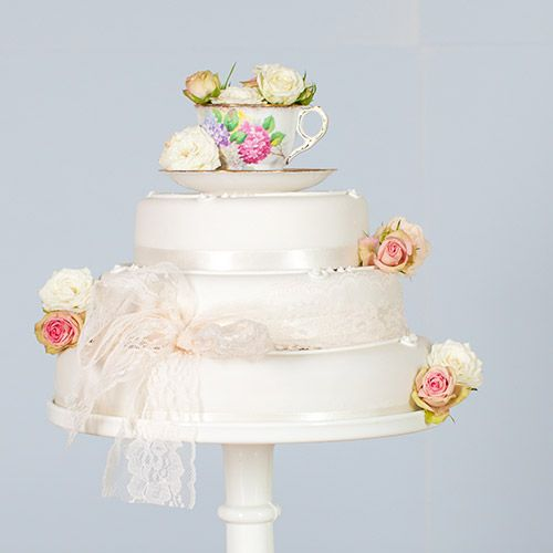 #rockmycake with Marks & Spencer | Traditional Three Tier Wedding Cake | Vintage | Lace Ribbon | Blush Blooms | China Teacup Cake Topper |