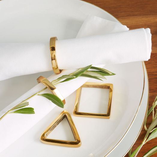 Gold Napkin Ring Set- so classy with the simple, white napkins! LOVE the white…