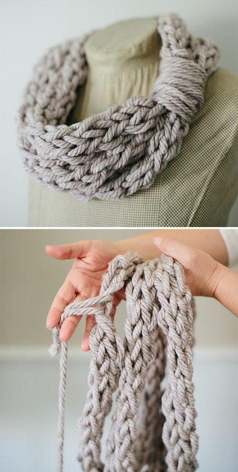 Finger Knit Cowl And Tutorial Knit Accesories Pinterest Finger
