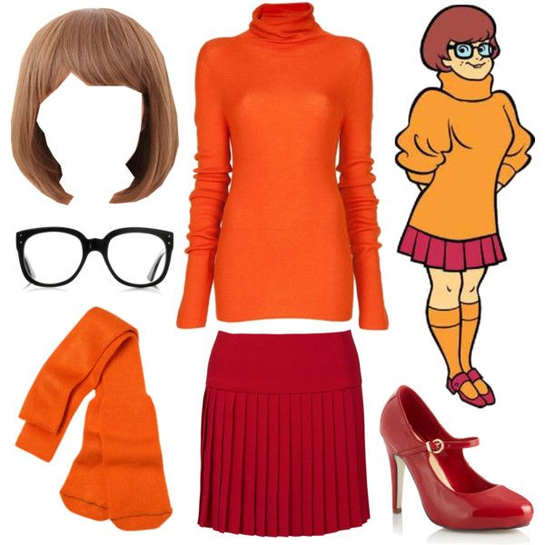 """Velma Dinkley costume from Scooby Doo. """"Jinkies!"""" by azurafae on Polyvore--tam, I thinks I'm gonna see if I can round this stuff up!  I don't even need the wig!"""