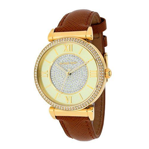 Relógio Michael Kors Catlin Dourado Cravejado Couro Feminino - Palazzo Shop