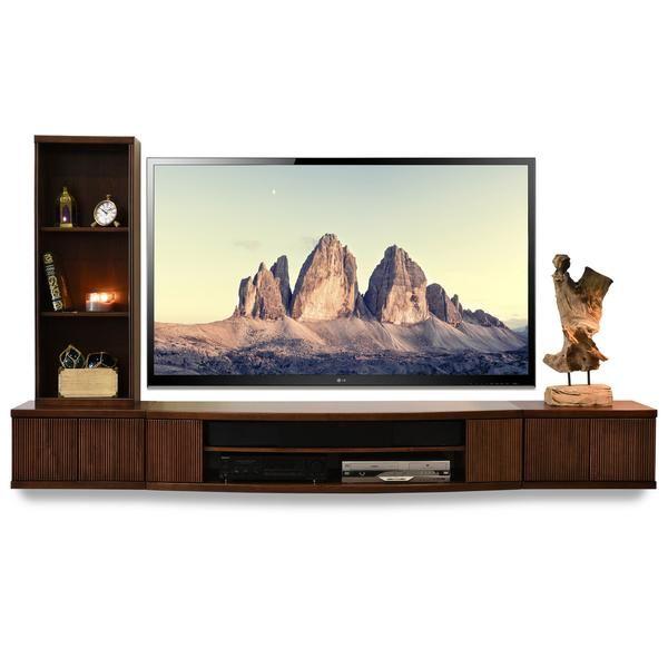 Floating Media Wall Shelf Cabinet - Curve Mocha - 3 Piece + Bookcase - Woodwaves