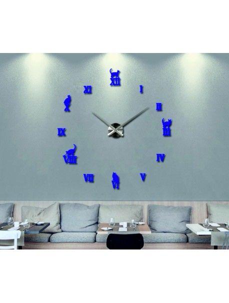 Luxusní nástěnné hodiny - Černá kočka Kód:  12S020-RAL5002-S-COLOR** Vyber si barvu podle sebe! Přišel čas zútulnit si své bydlení novými hodinami. Velké nástěnné 3D hodiny jsou krásnou dekorací Vašeho interiéru. Už nikdy nebudete opozdí.