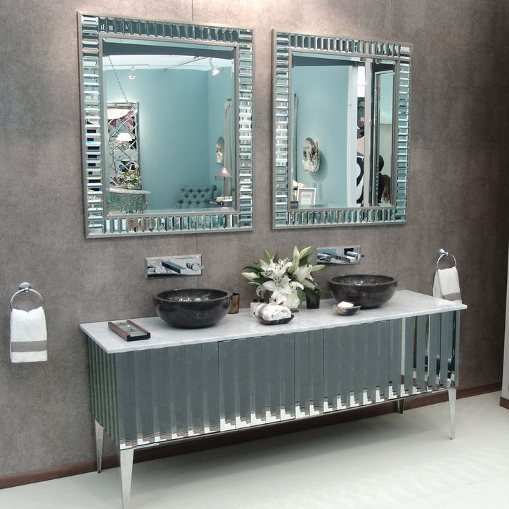 Luxe Designer Tiffany Mirror Bathroom Vanity Beverly Hills