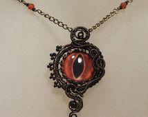 OJO de dragón collar - alambre envuelto collar, joyería de mal de ojo, joyas de bronce y negro, joyería steampunk, joyería gótica,…