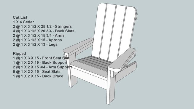 Large Preview Of 3d Model Of Small Childs Adirondack Style