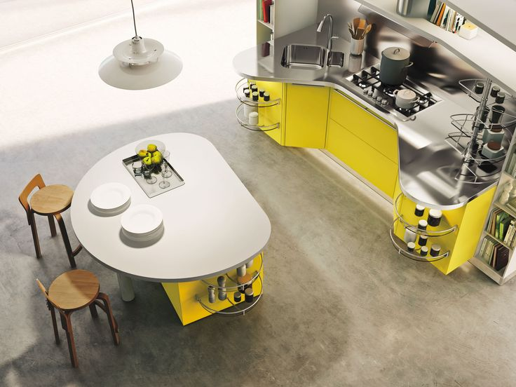 #Cucina #kitchen #Skyline 2.0 featuring yellow lemon high-gloss lacquered doors and arctic white lacquered open units.