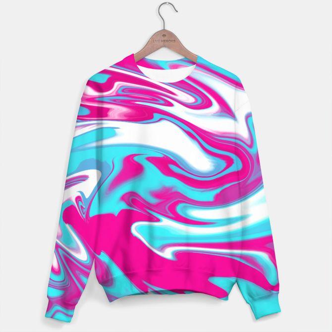 Aqua Magenta Marble Sweater, Live Heroes #oksanaariskina #abstract #marble #magenta #blue #wave #liveheroes