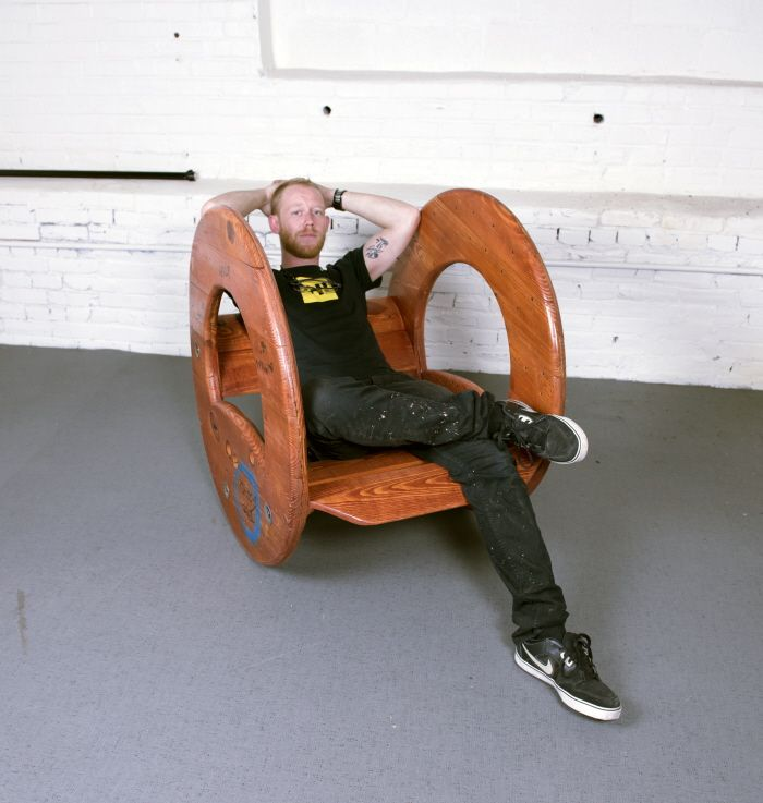 Cable Reel Rocking Chair by Connor McGoey at Coroflot.com