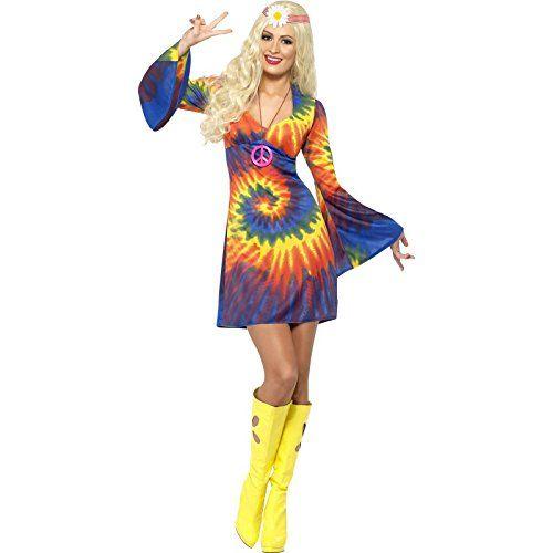 Smiffys, Damen 60er Schnurbatik Kostüm, Kleid, Hippie