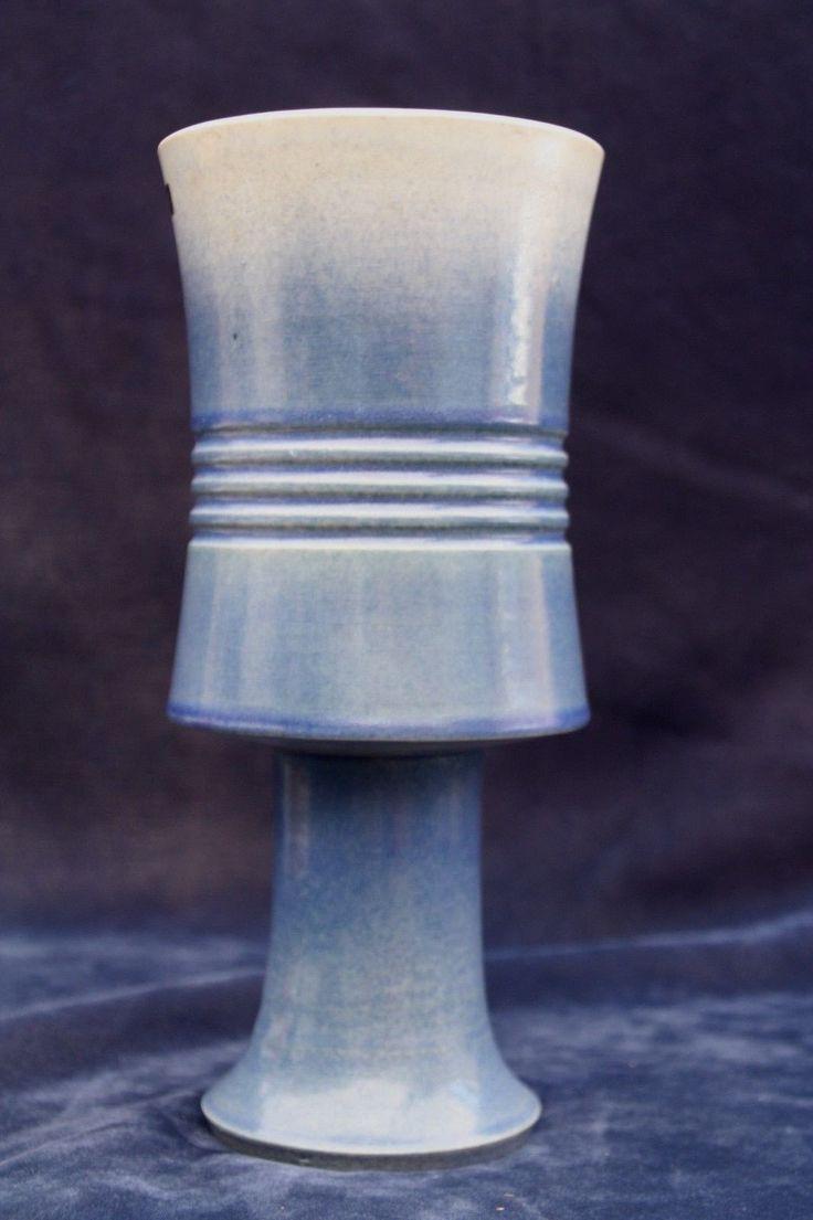 "Japanese 12"" Ikebana Tall Flower Arrangement Vase Bowl Pedestal Blue Pottery | eBay"