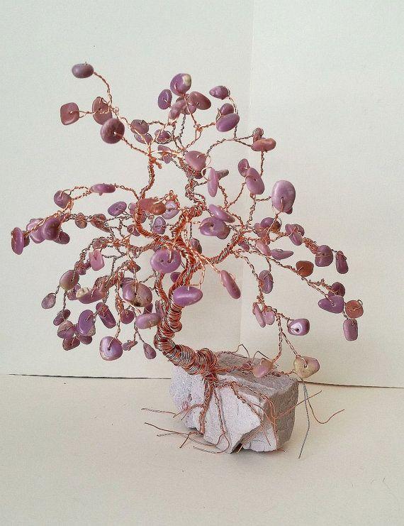 Gemstone Tree Crystal Tree Copper BONSAI WIRE TREE Sculpture Purple Phosphosiderite on Lepidolite Rock Base - Tree Home Decor, Reiki Energy