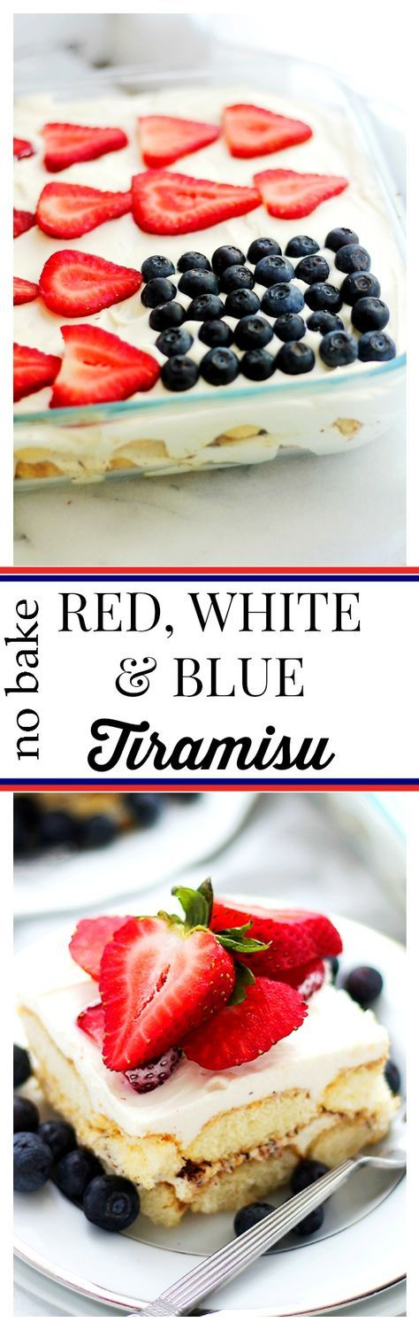 Red, White and Blue Tiramisu | www.diethood.com | Layers of ladyfinger cookies covered with a luscious, creamy mascarpone cheese mixture and topped with your favorite red and blue berries! This is perfect for your 4th of July party!