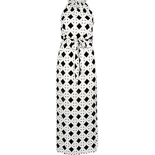 River island black and white maxi dress