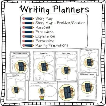 Writing Planners/Templates BundleIncludes: Story Map, Story Map 2  Problem/Solution, Recount, Procedure, Explanation, Persuasive & Making Predictions plannersUse these simple writing planners/templates to help your students quickly plan 7 different types of writing.