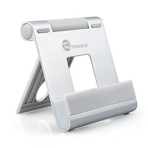 iPad stand, TaoTronics Portable Multi-angle Tablet Smartphone Stand (Adjustable Kickstand, Aluminum Body) for iPhone, iPad, Samsung Galaxy, LG, e-book , Android Windows Smartphone and Tablet - Silver - ipad stand  - http://buytrusts.com/giftsets/tablet-accessories/ipad-stand-taotronics-portable-multi-angle-tablet-smartphone-stand-adjustable-kickstand-aluminum-body-for-iphone-ipad-samsung-galaxy-lg-e-book-android-windows-smartphone-and-tablet-silver
