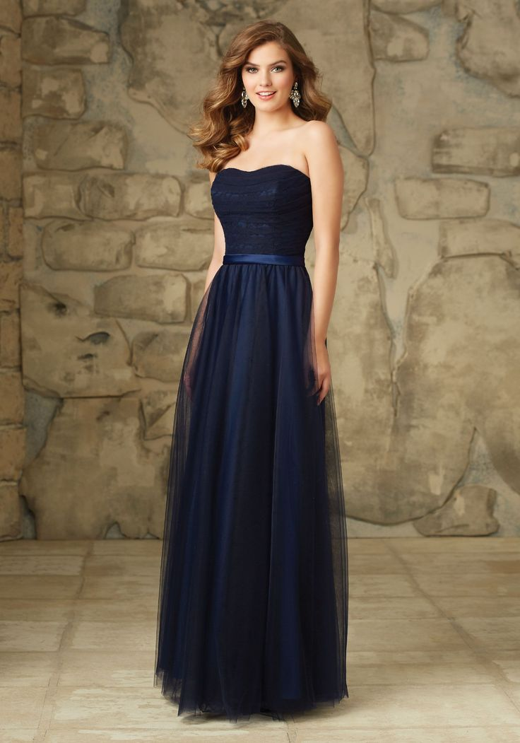 Bridesmaid Dresses and Gowns by Morilee designed by Madeline Gardner. Elegant Lace and Tulle Long Bridesmaid Dress