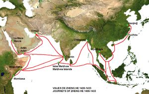 Silk Road - encyclopedia article about Silk Road.  //  The Chinese maritime silk route, pioneered by Zheng He's voyages[1]