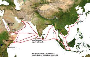 Las rutas de los viajes de Zheng He
