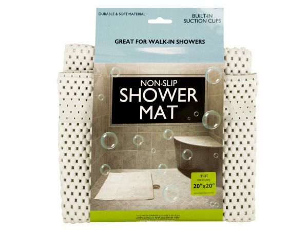 "Non-Slip Shower Mat with Suction Cups, 18 - Great for walk-in showers and bathtubs, this Non-Slip Shower Mat features a cushioned mat made of durable, soft material and built-in suction cups. Measures approximately 20"" x 20"". Comes packaged with a wrap around.-Colors: white. Material: plastic. Weight: 0.9167/unit"