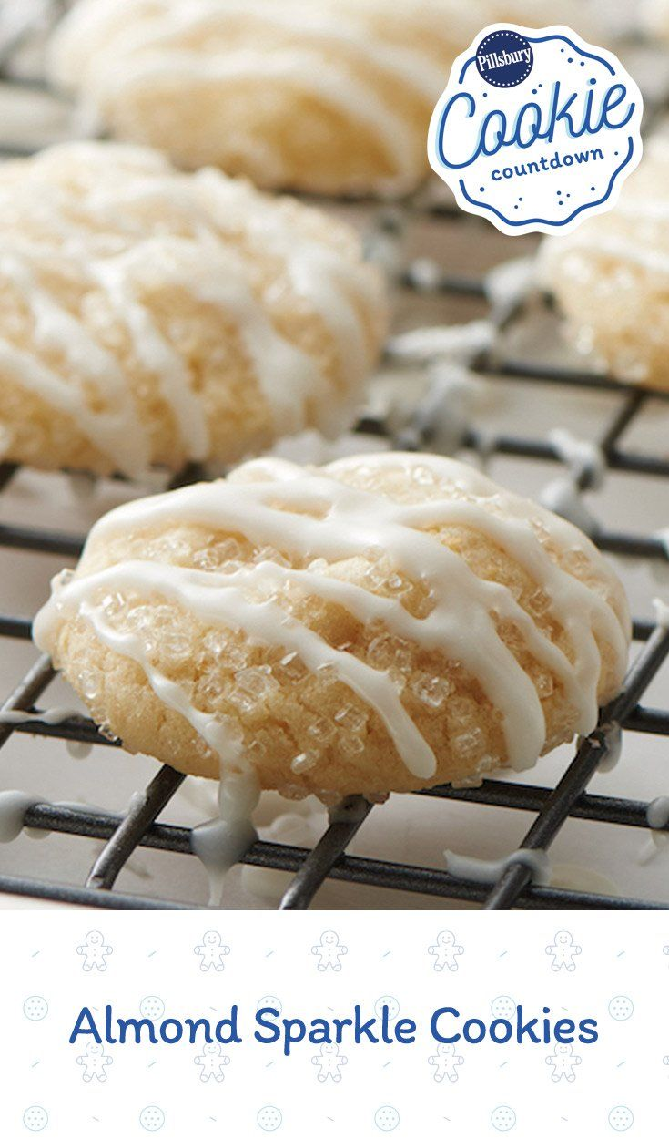 These cute and easy holiday almond cookies sparkle like freshly fallen snow! Expert tip: To toast almonds, heat oven to 350°F. Spread almonds in ungreased shallow pan. Bake 6 to 10 minutes, stirring occasionally, until light golden brown. If you can't find coarse sugar, try a gourmet grocery store or baking store.