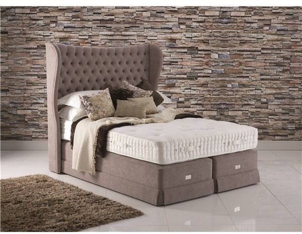 Hypnos Royal Splendour Pocket Sprung  Divan Set - Using a unique 3 zone, 17 turn, improved UltraSense barrel spring means the springs in the mattress will contour to your own individual body shape, making the mattress heavenly comfortable and supportive under any part of your body.  This Hypnos mattress also has 3 rows of hand side stitching completed manually by a craftsman. All Royal Buckingham are available in a soft, medium or firm tension.
