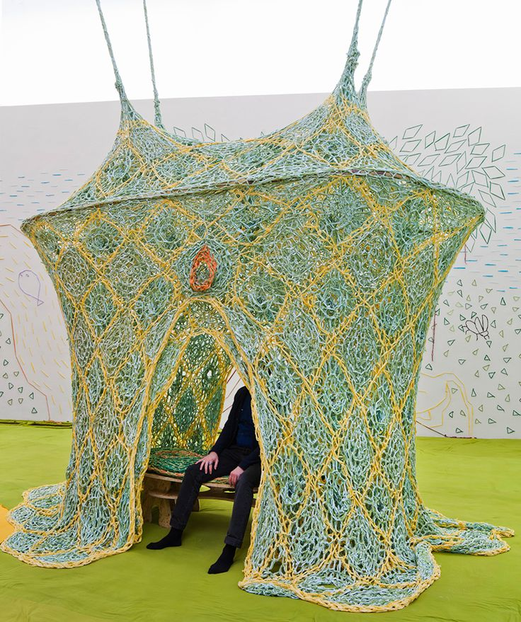 Artist Ernesto Neto in Kiasma, Helsinki Finland. For his solo show pays homage to the traditions and rituals of the huni kuin indigenous peoples.