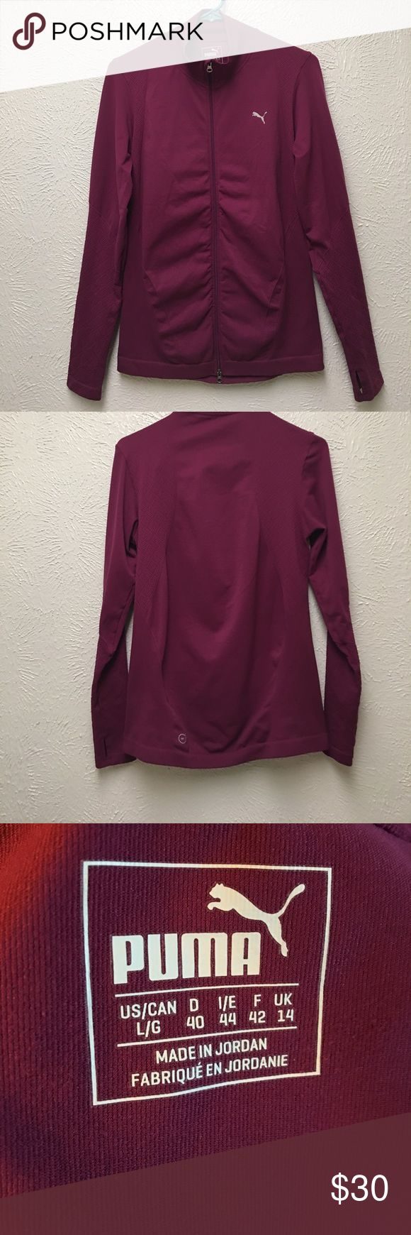 PUMA | Jacket Very nice zip up PUMA Dry Cell Jacket in a cranberry color. Great details in the fabric and it has thumbholes in the sleeves. Very stretchy material with a snug but generous fit. Puma Jackets & Coats