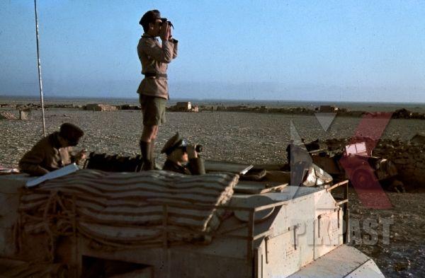 Field Marshal Erwin Rommel watching battlefield 1941 Tunisia in Captured British armoured truck MAX. MAMMUT - 1. Location - Town - Cities - PIXPAST