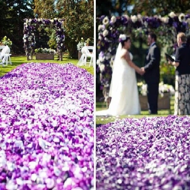 100 Pcs Purple White Gradient Petal Wedding Aisle Runner Chapel