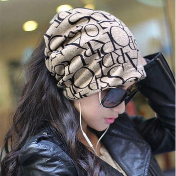 La más nueva Manera de Corea Mujeres de Señora Bufanda de la Gorrita Tejida Del Cráneo Del Sombrero Headwear Sombreros de Pelo de 4 Colores