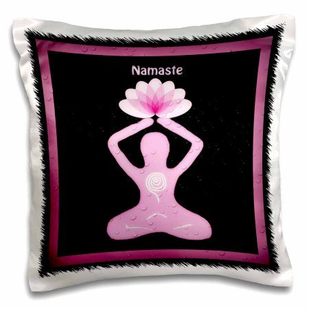 3dRose A Namaste image with a goddess holding a lotus flower, Pillow Case, 16 by 16-inch