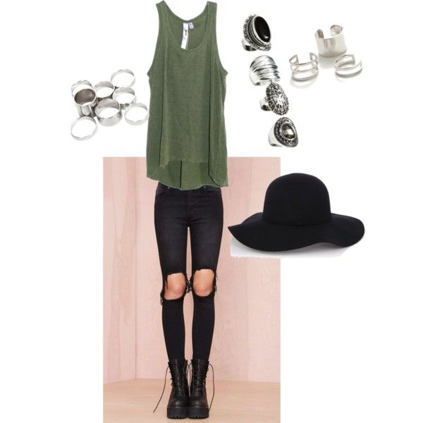 Edgy hipster vibes- army green tank top, black skinny jeans with holes in the knees, Nasty Gal, floppy hat, silver rings