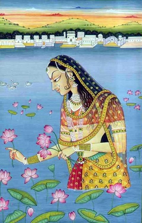 Mughal Art As she gathered her lotus from the Kusum Serova She dreamed of the pleasure these little beauties would bring Him.