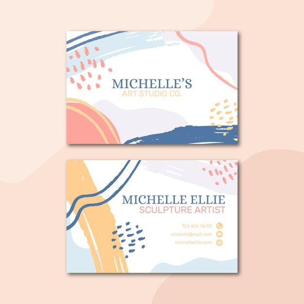 Pastel Colored Business Card Template In Memphis Style Free Printable Business Cards Free Business Card Templates Colorful Business Card