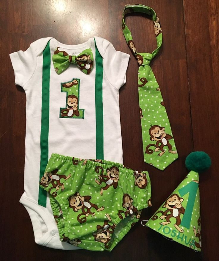 """Boys, jungle monkey theme, first birthday, smash cake outfit. Available to custom order at """"Southern Sweet Boutique"""" on Facebook."""