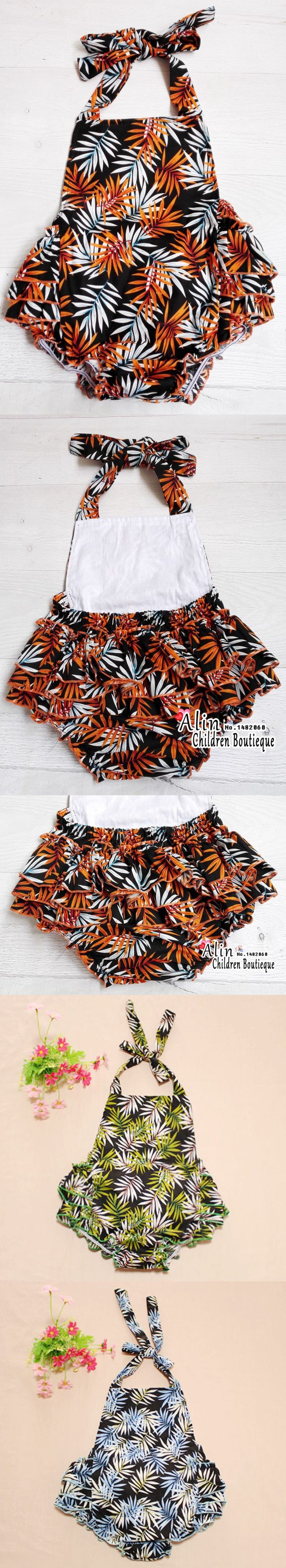 Print Baby Jumpsuit Lace Up Rompers,Ruffled Baby Rompers Infant Girl Costume,Mamelucos Para Bebes,#P0122