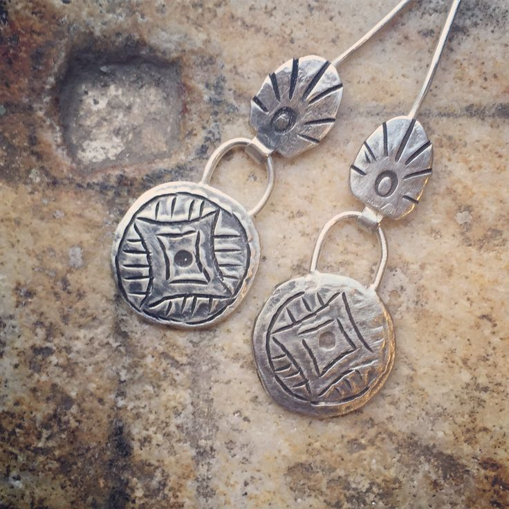 Silver engraved on both sides earrings
