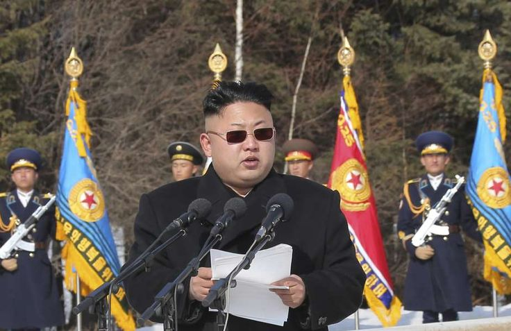 North Korean leader Kim Jong Un addresses commanding officers of the combined units of the Korean People's Army (KPA): Kim Jong Un addresses commanding officers of the combined units of the Korean People's Army (KPA) in this photo released April 2, 2014.