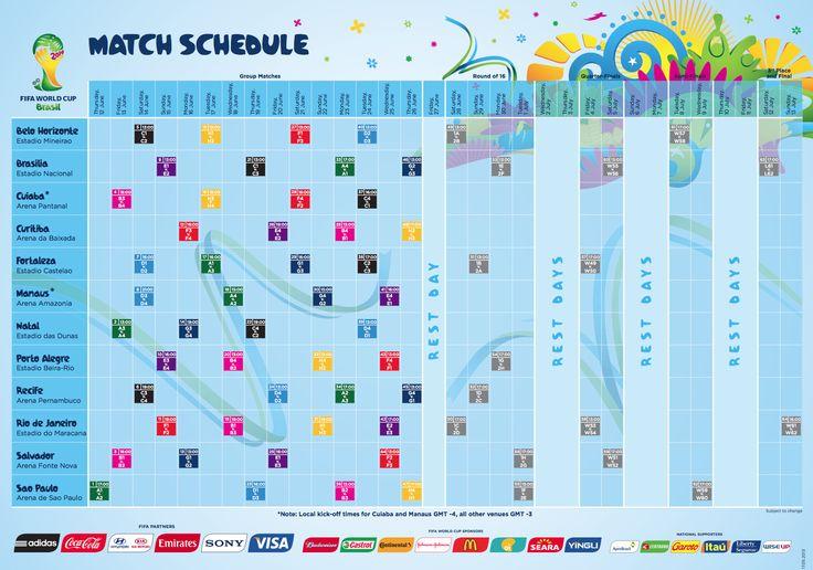 Calendario completo Mondiali Brasile 2014: tutte le partite,date e orari #Mondiali2014 http://gnam.me/icrkw