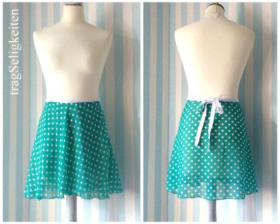 Ballet skirt adult, short dance skirt, mint green polkadot, dancewear, ballet clothing, elastic ribbon, chiffon ballet skirt, green white