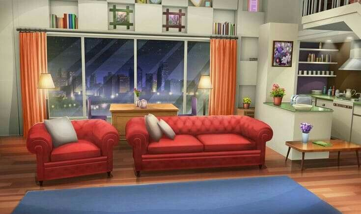 Living room anime apartment background