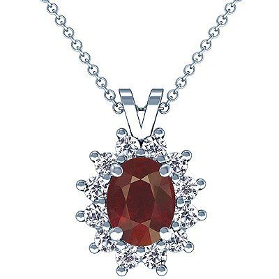 Platinum Oval Cut Ruby And Round Diamond Pendant GemsNY. $7877.00