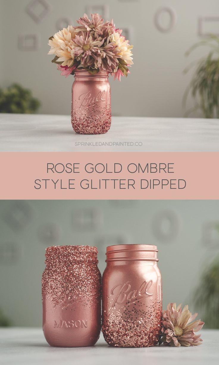 Rose Gold Glitter Dipped Mason Jars – #Dipped #Glitter #Gold #jar #Jars #Mason