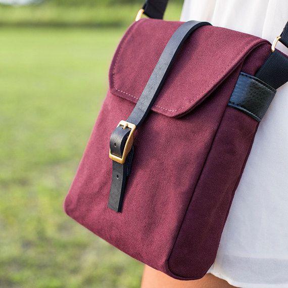 Crossbody Minimalist Bag  Burgundy Red Crossbody Bag by INTERICON