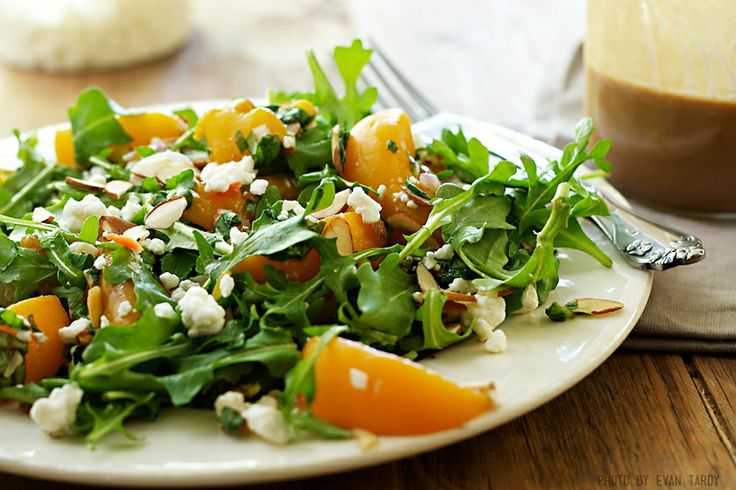 Arugula with Balsamic Peaches and Goat Cheese on http://www.draxe.com