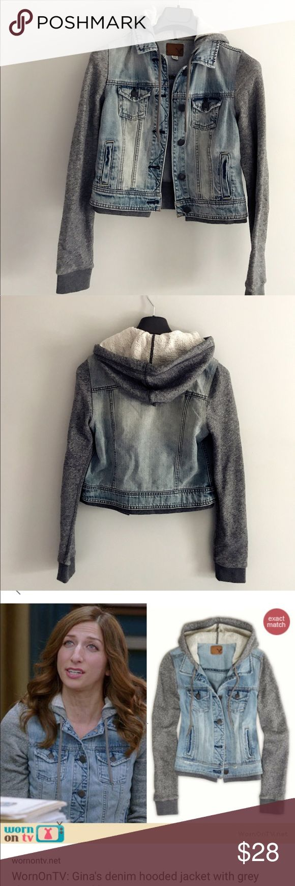 American Eagle Outfitter hoodie jacket Size S Really cute and in trend hoodie jacket! Effortless chic style.  Good for spring/fall weather.  So popular that it sold out before on sale American Eagle Outfitters Jackets & Coats Jean Jackets #americaneagleoutfitters